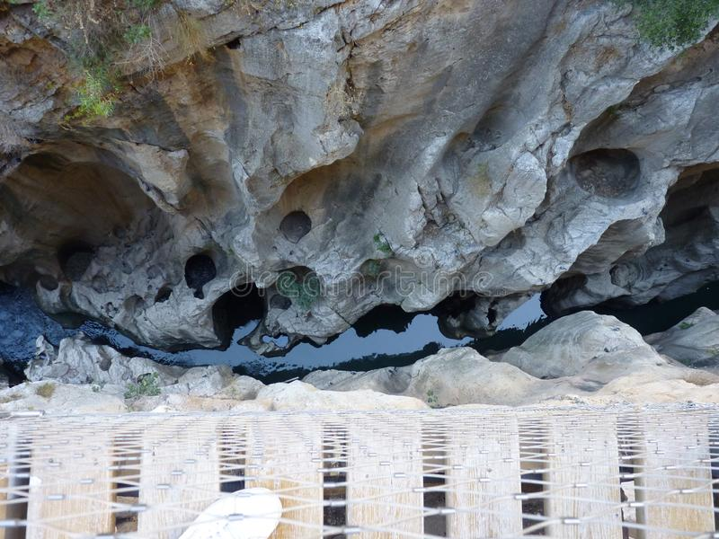 Королевский след El Caminito del Rey в ущелье Chorro, провинции Малага стоковые изображения rf