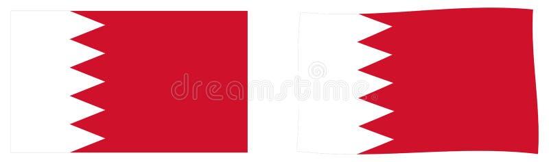 Королевство флага Бахрейна Простая и немножко развевая версия иллюстрация штока
