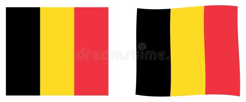 королевство флага Бельгии Простая и немножко развевая версия бесплатная иллюстрация