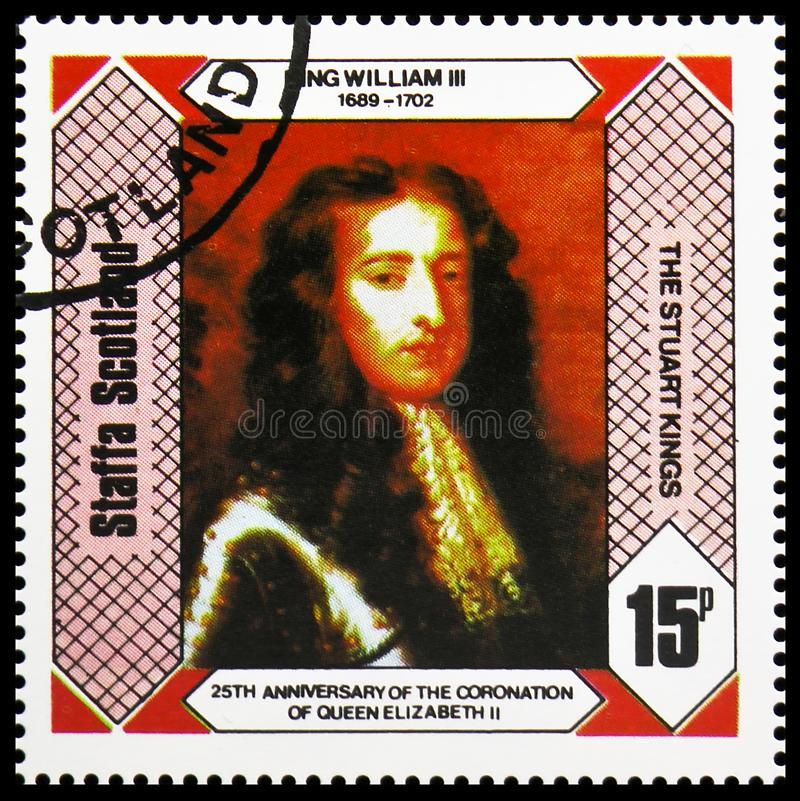 Король Вильям III, короли Stuart, 25th годовщина коронования ферзя Элизабет II, serie Staffa Шотландии, около 1978 стоковое фото rf