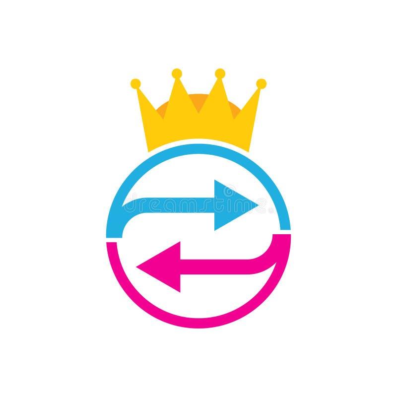 Король Логотип Значок Конструировать перехода иллюстрация вектора