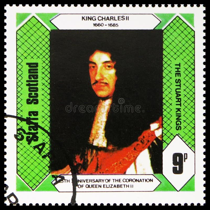 Король Чарльз II, короли Stuart, 25th годовщина коронования ферзя Элизабет II, serie Staffa Шотландии, около 1978 стоковые фото