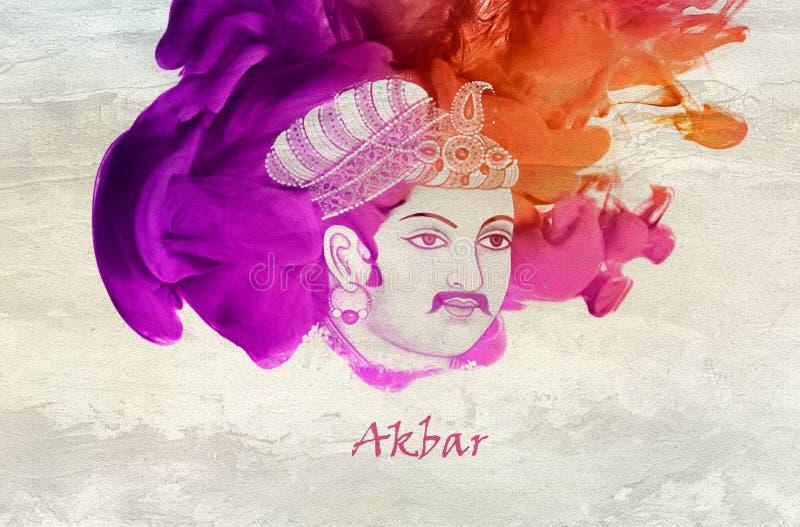 Король Akbar династии Mughal иллюстрация вектора