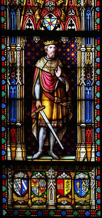 Король Baldwin крестоносца III из Иерусалима - цветного стекла в Брюгге стоковые фото