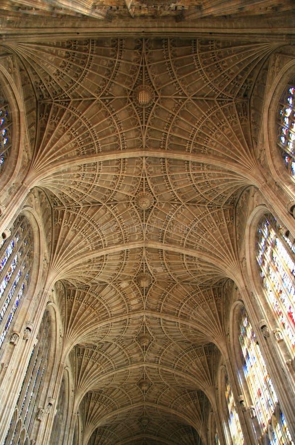 короля коллежа молельни потолка вольтижировали стоковое изображение rf