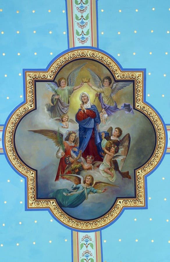 Коронование и предположение девой марии стоковые изображения