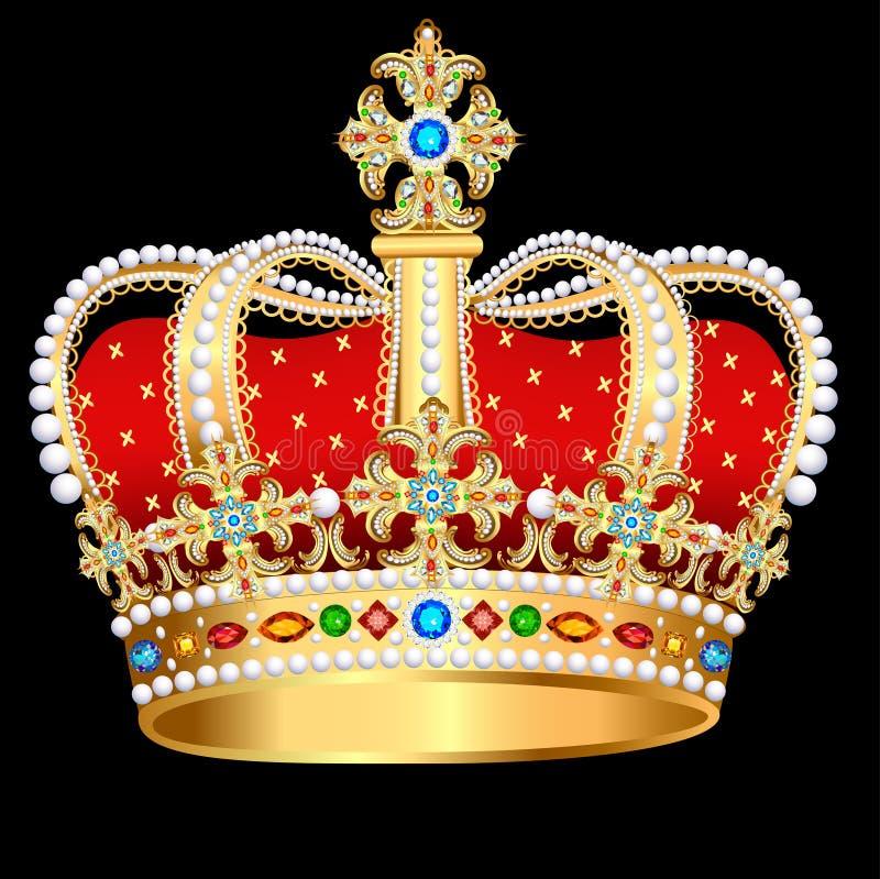 королевская крона золота с драгоценными камнями и ювелирными изделиями иллюстрация вектора