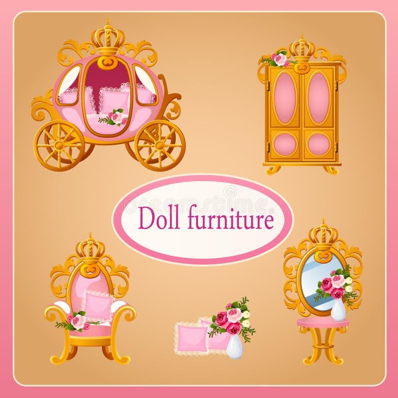 Королевская мебель куклы для принцессы комнаты бесплатная иллюстрация