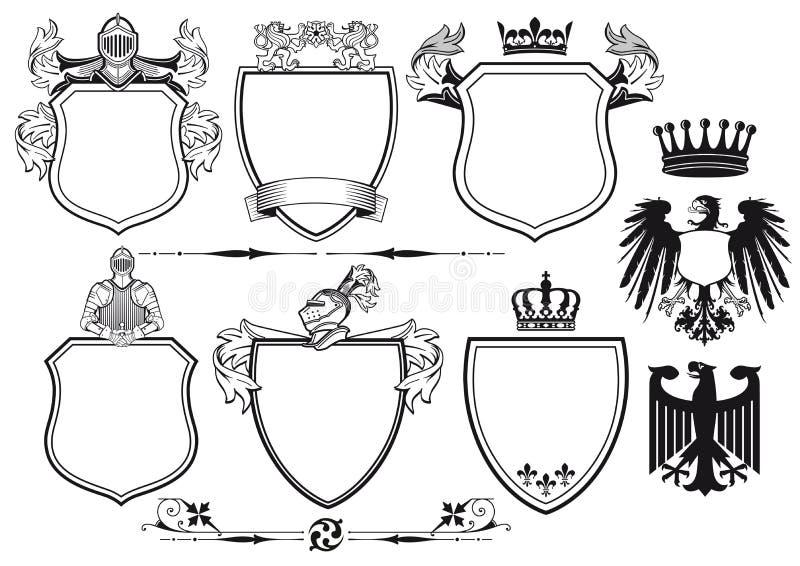 Королевские рыцари установленные значков бесплатная иллюстрация