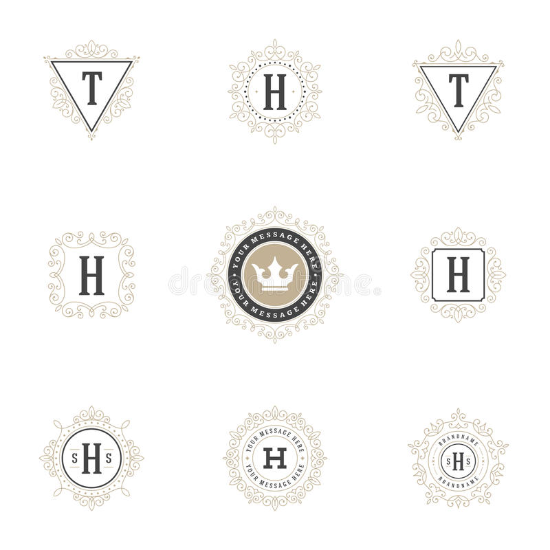 Королевские установленные шаблоны дизайна логотипов Линии орнамента эффектной демонстрации каллиграфические элегантные бесплатная иллюстрация