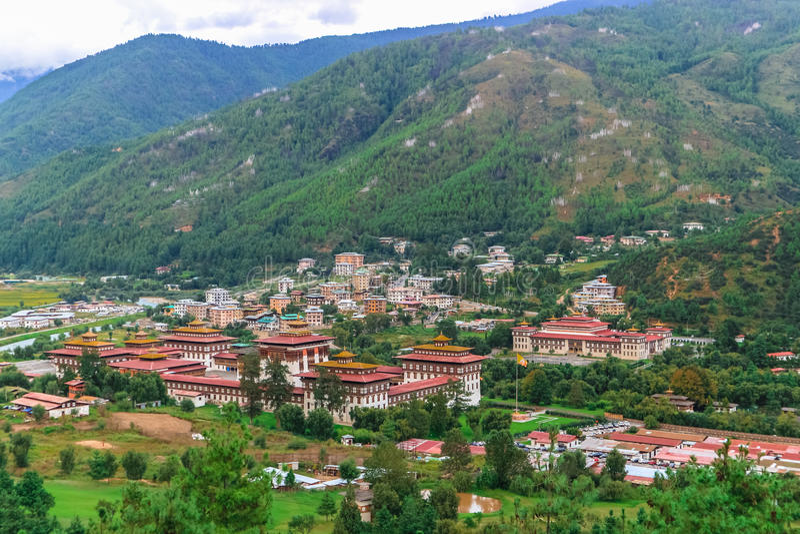 Королевский дворец Tashichho Dzong, Тхимпху, Бутан стоковая фотография rf