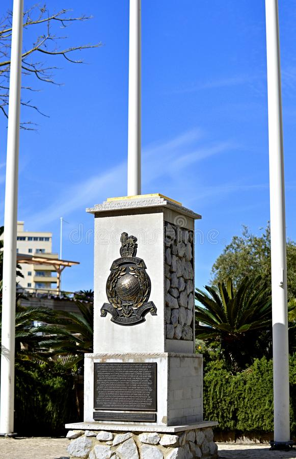 Королевский памятник морских пехотинцов, деревня океана, Гибралтар стоковое изображение rf