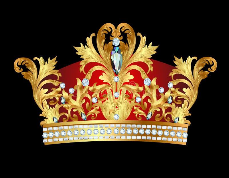 королевской кроны золота с драгоценностями иллюстрация штока