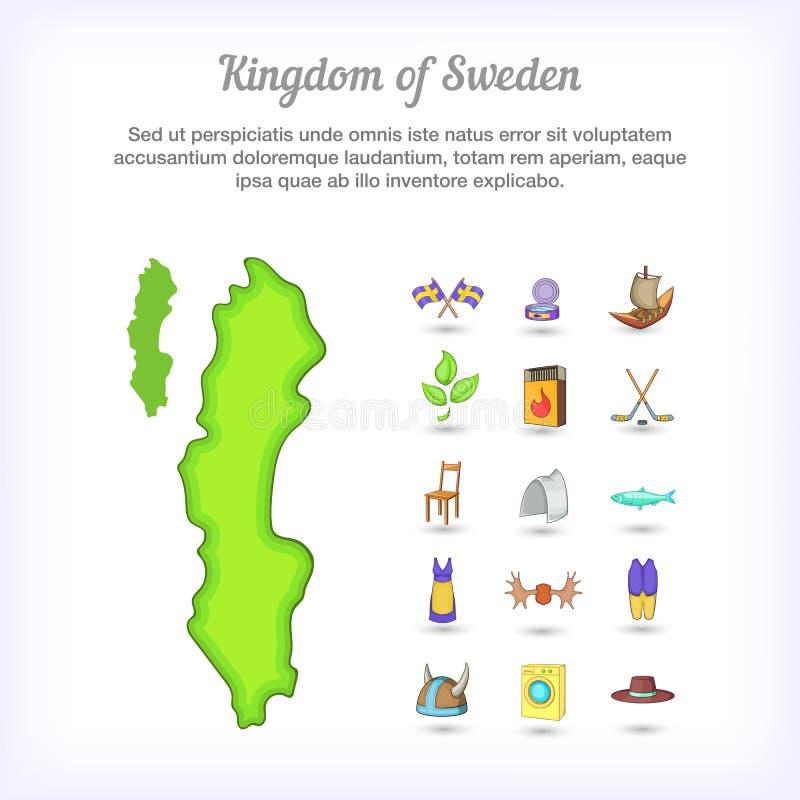 Королевство концепции Швеции, стиль шаржа бесплатная иллюстрация
