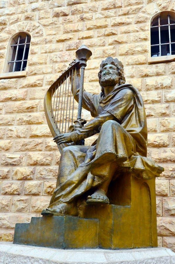 Король Дэвид Scoulpture в городе Израиле Иерусалима старом стоковые изображения rf
