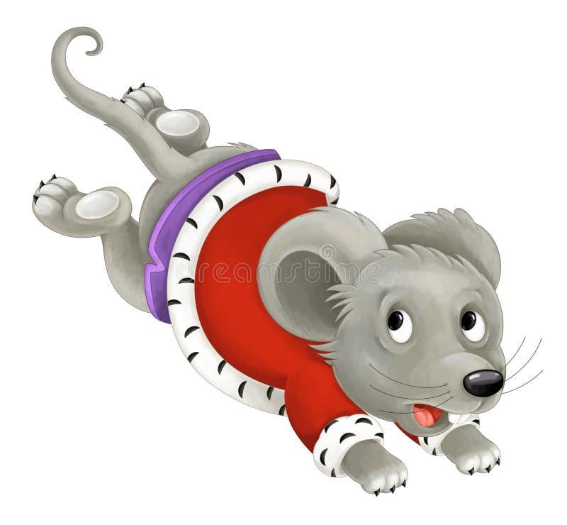 Король твари шаржа бежать и изолированный скача - мышь - иллюстрация штока