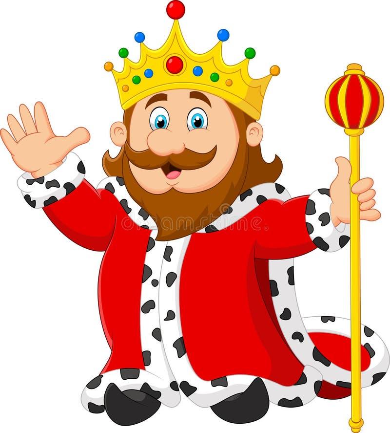 Король шаржа держа золотой скипетр иллюстрация штока