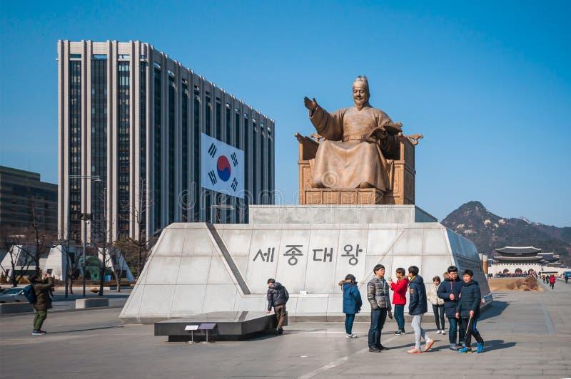 Король Sejong Статуя в площади Gwanghwamun стоковые фотографии rf