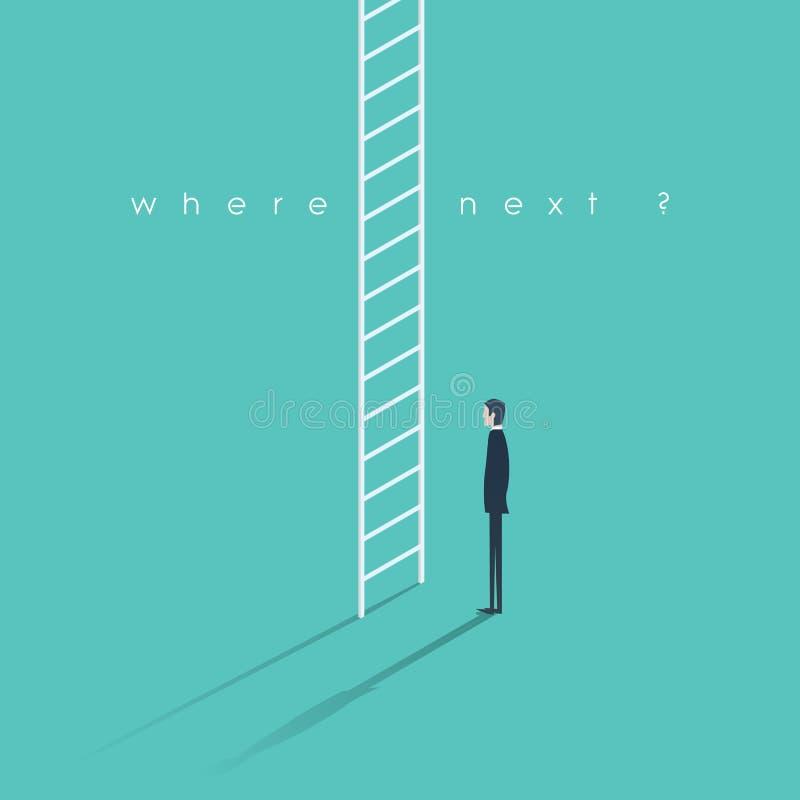 Корпоративная иллюстрация концепции лестницы Бизнесмен делая большое решение карьеры иллюстрация штока