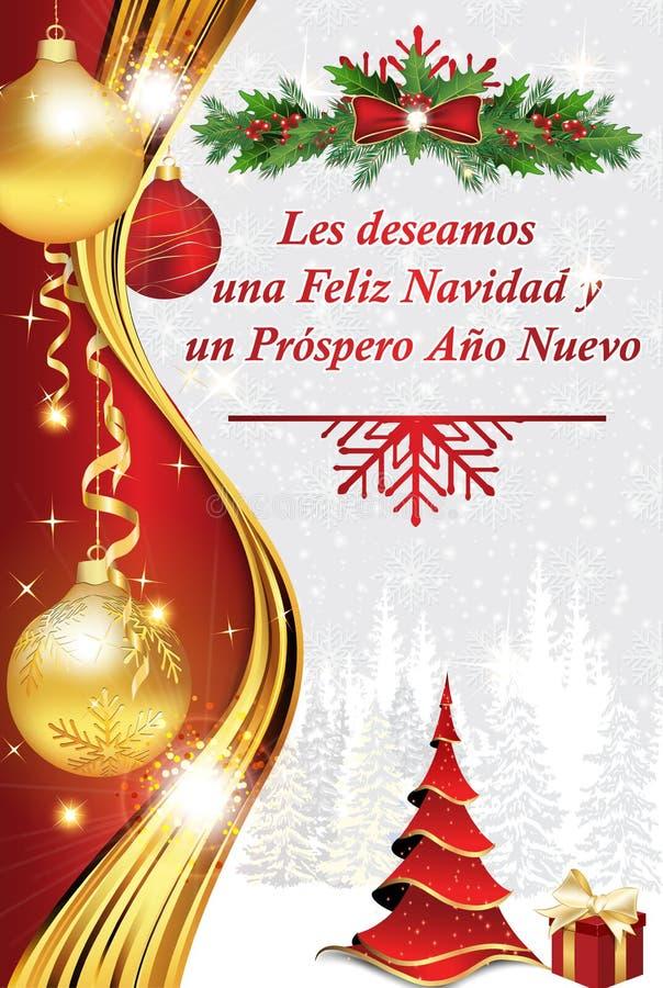Корпоративная поздравительная открытка зимнего отдыха в испанском языке бесплатная иллюстрация