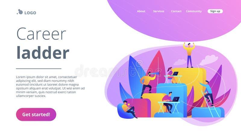 Корпоративная страница посадки концепции лестницы иллюстрация вектора