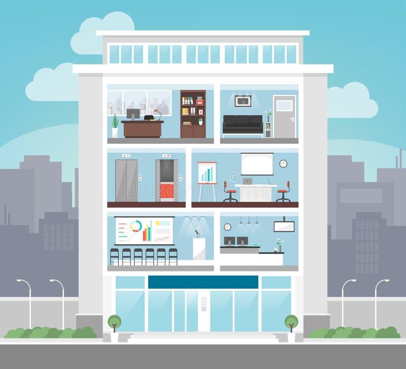 Корпоративное офисное здание иллюстрация вектора