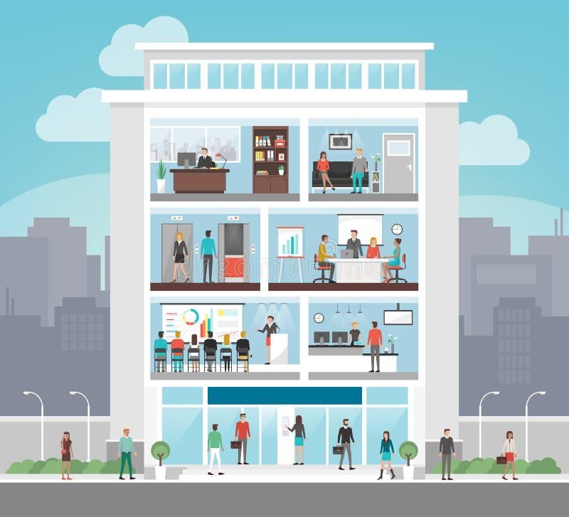 Корпоративное офисное здание иллюстрация штока