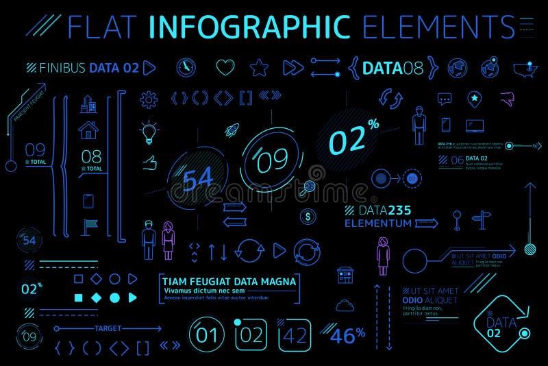 Корпоративное плоское собрание элементов Infographic иллюстрация вектора