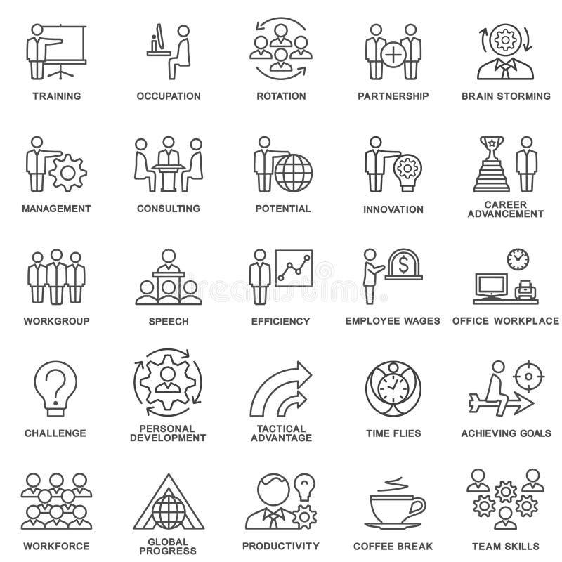 Корпоративное управление значков, тренировка дела иллюстрация вектора