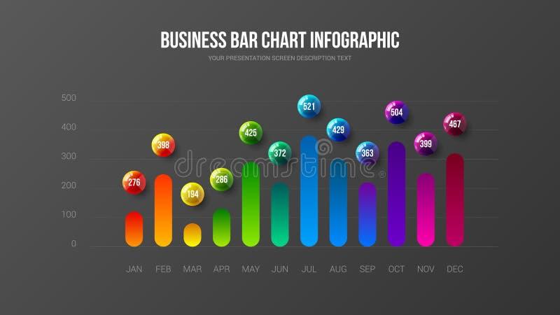 Корпоративный аналитик маркетинга сообщает вертикальный план дизайна диаграммы в виде вертикальных полос бесплатная иллюстрация