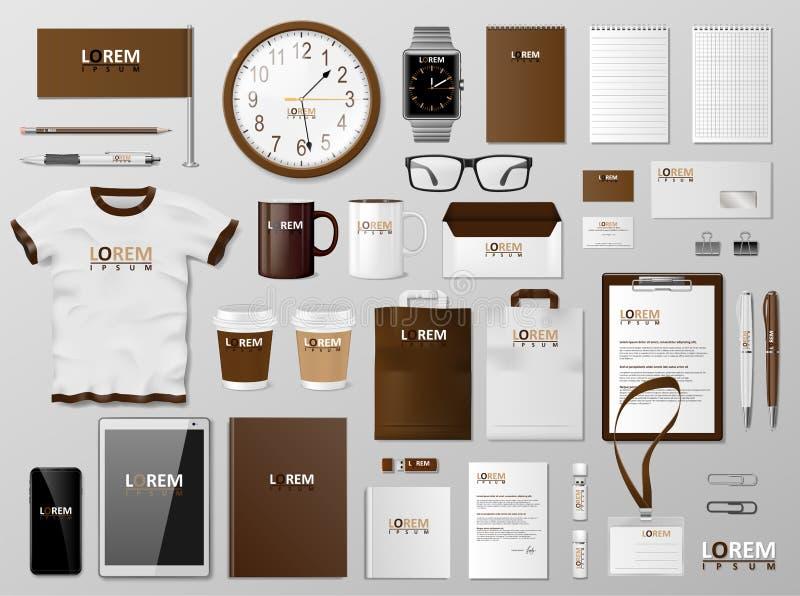 Корпоративный дизайн коричневого цвета шаблона клеймя идентичности Современный реалистический модель-макет канцелярских принадлеж бесплатная иллюстрация