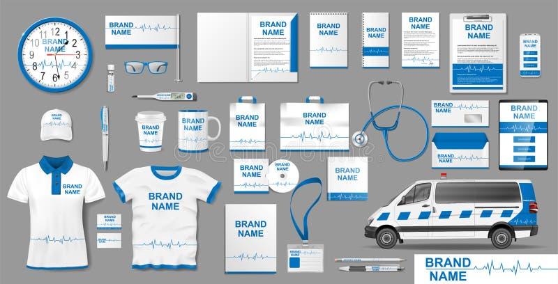 Корпоративный дизайн шаблона клеймя идентичности медицинской клиники Элементы модель-макета клиники фармации зубоврачебные для пр иллюстрация штока