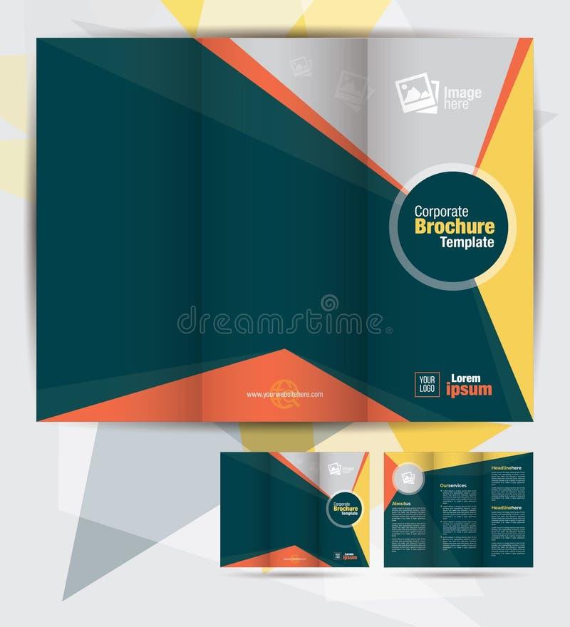 Корпоративный trifold шаблон дизайна брошюры дела иллюстрация штока