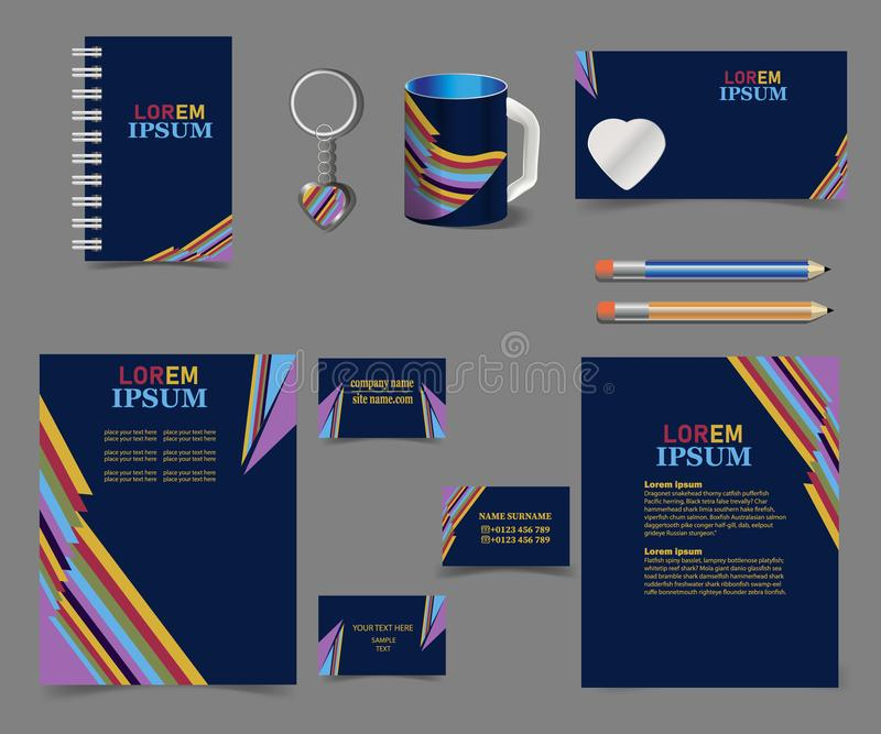 Корпоративн-стиль-картин-дизайн-на-темн-голуб-радуг-нашивки - Дел-канцелярские принадлежности-набор иллюстрация штока