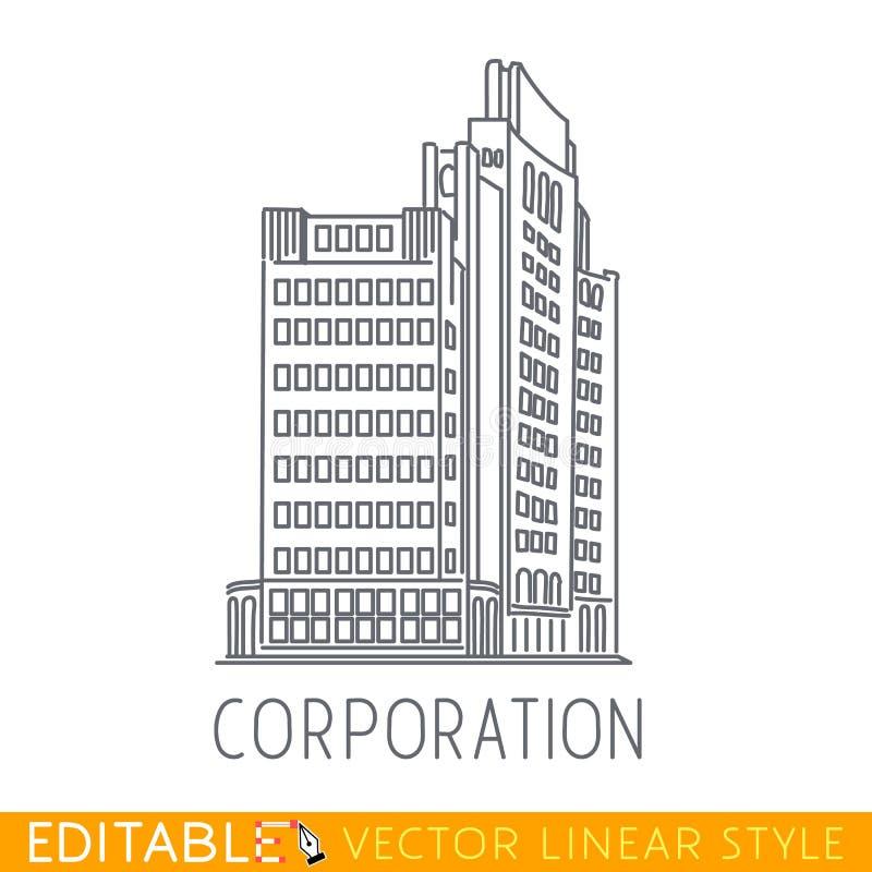 корпорация Здание большой компании Архитектура коммерции Editable график в линейном стиле бесплатная иллюстрация