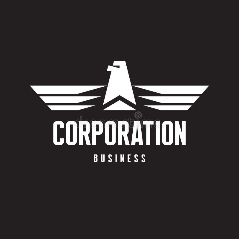 Корпорация - логотип орла подписывает внутри классический графический стиль иллюстрация вектора