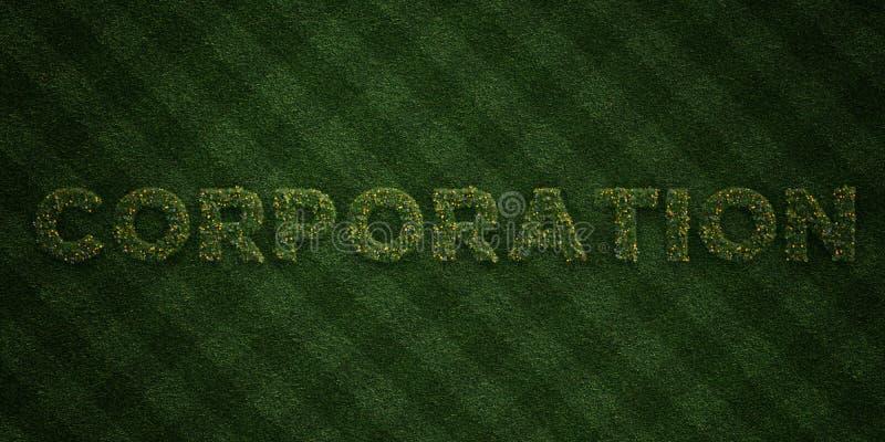 КОРПОРАЦИЯ - свежие письма травы с цветками и одуванчиками - представленное 3D изображение неизрасходованного запаса королевской  бесплатная иллюстрация