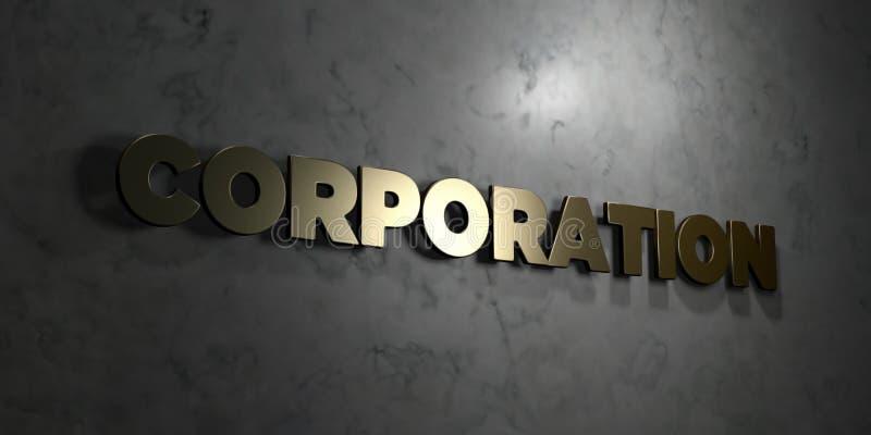 Корпорация - текст золота на черной предпосылке - 3D представила изображение неизрасходованного запаса королевской власти бесплатная иллюстрация