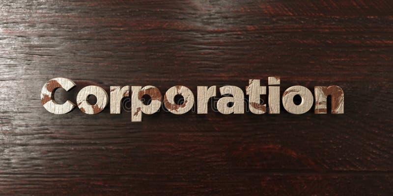 Корпорация - grungy деревянный заголовок на клене - представленное 3D изображение неизрасходованного запаса королевской власти иллюстрация штока