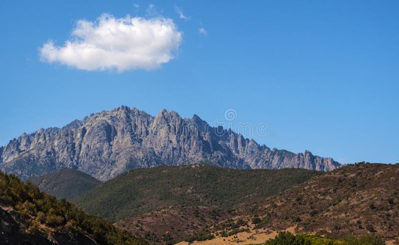 Корсика, держатель Cinto, одичалый ландшафт, Haute Corse, верхнее Corse, Франция, Европа, Haut Asco, долина Asco, высокий центр К стоковое изображение rf