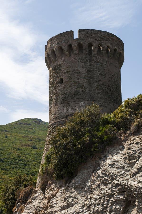 Корсика, крышка Corse, башня Losse, башня l ` Osse, Haute Corse, Genoese башни, Франции, Европы, острова, извилистой дороги стоковое фото