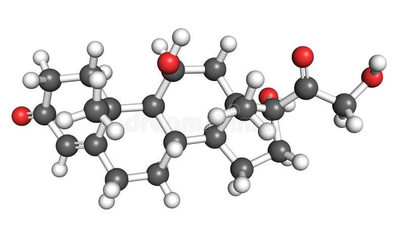 Молекула кортизола иллюстрация вектора