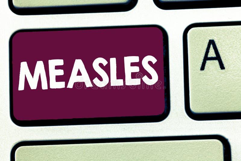 Корь показа знака текста Заболевание схематического фото заразное вирусное причиняя лихорадку и красную сыпь на коже стоковое фото