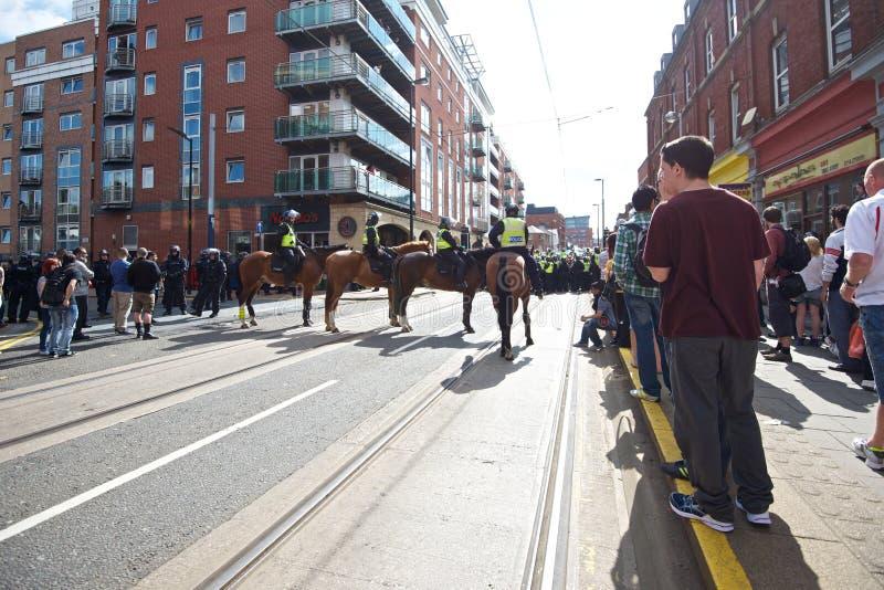 Кордон конной полиции улицы стоковое фото rf