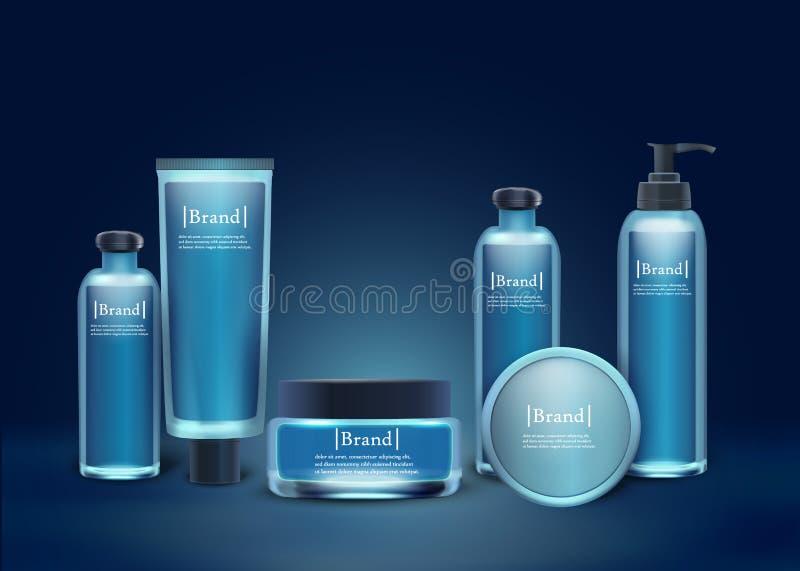Косметика бренда установила пластиковые и стеклянные бутылки иллюстрация вектора