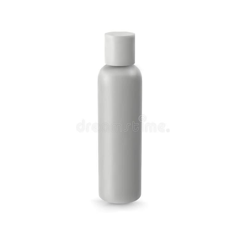 Косметика вектора белого трубчатого шаблона бутылки реалистическая пустая иллюстрация вектора