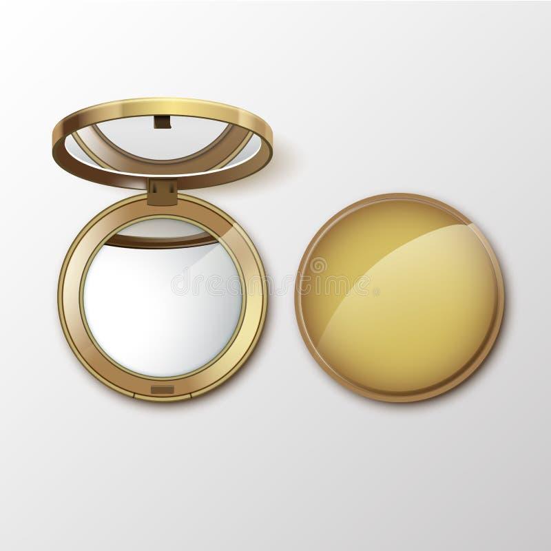 Косметика вектора золотая круглая карманная составляет малое зеркало на белой предпосылке иллюстрация вектора
