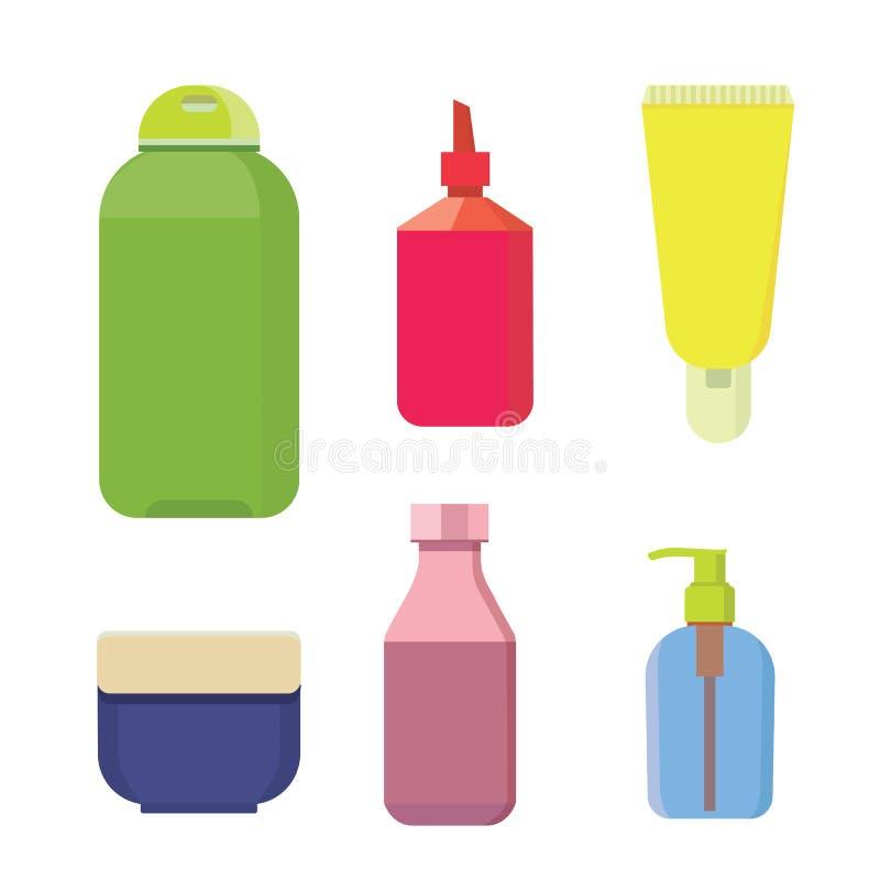Косметика разливает комплект по бутылкам цвета вектора Бутылка и контейнер шампуня красоты с лосьоном для кожи бесплатная иллюстрация
