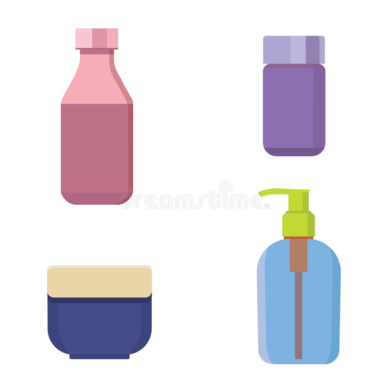 Косметика разливает комплект по бутылкам цвета вектора Бутылка и контейнер шампуня красоты с лосьоном для кожи иллюстрация вектора