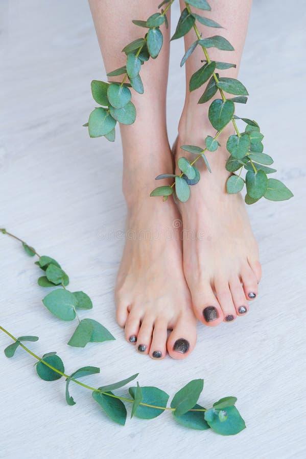 Косметика для ног женщины стоковые фото